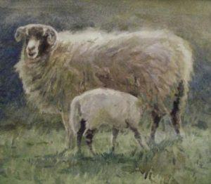 'Feeding time' 2007 watercolour. Sold