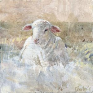 'Lamb in May' 2015 acrylic 10x10cm. Sold