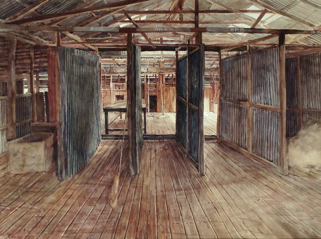 "Christine Porter, Rural Artist. image ""the tidy shed"" watercolour on paper"