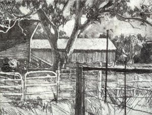the-end-of-the-shed-2000-etching-approx-12-x-16cm-christine-porter