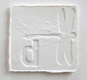 'D is for Dragons, flying' 2010 embossing 6x6cm , available