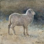 'ewe' 2015 acrylic on board 9x9cm Christine Porter