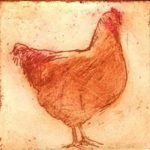 little-red-hen-2012-colour-etching-7x6-8cmchristine-porter