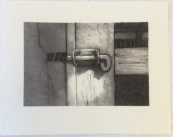 'locked' 2015 drypoint 18.5x14.5cm. Highly commended Open Section Mitchell Art Show 2016