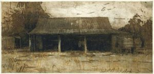 the-machinery-shed-2005-multiplate-colour-etching-18-5x8-5cm-christine-porter