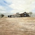 """A painting of the Shearing shed at """"Newstead North"""". It's on a hill, with brown grass and summer sky above."""