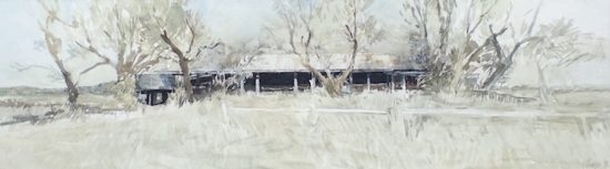""" The Old shed from the east"" 2015 watercolour on paper 63x18cm"
