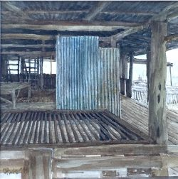 cporter-corrugated-iron-2015-watercolour-on-paper-16x16cm