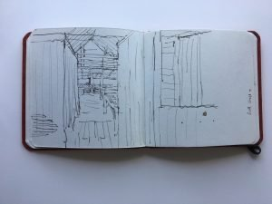 """Christine Porter Sketchbook. """"Newstead"""" It is here that the creativity kicks in. Ideas, thoughts, sometimes full projects evolve on these pages."""