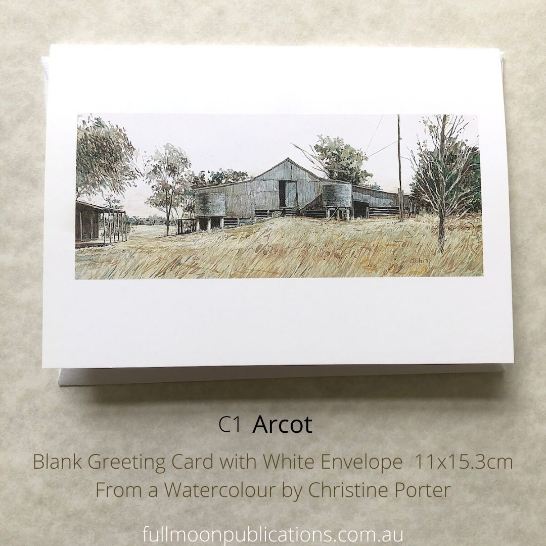 "Photo of a greeting card by Chrisitne Porter showing the side of the shearing shed at ""Arcot"" near Texas Qld. Also shows text with details of the card. It's size and code."