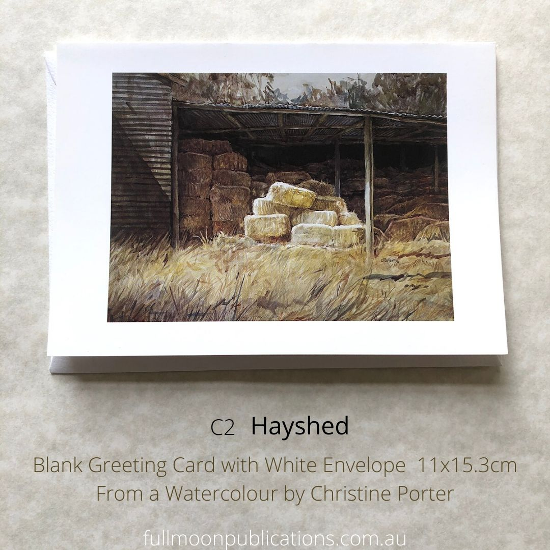 Photo of one of Christine Porter's greeting cards. This one of the inside of a hayshed. Also is details of the code and title.
