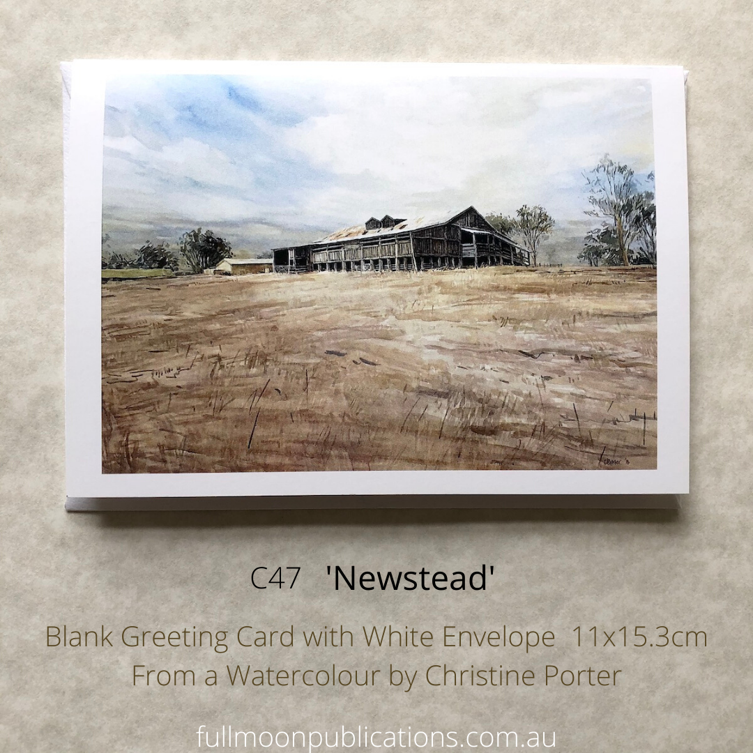 """a photo of one of Christine Porter's greeting cards. this one has a painting of the shed at """"Newstead"""" near Inverell, Also there is detiails of the artist code and title"""