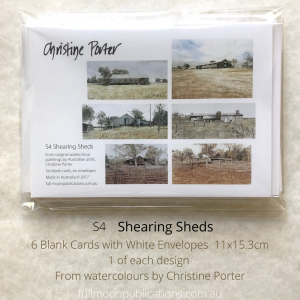 A photo of a set of a set of cards, showing the front postcard with six shearing sheds and descriptive words on it.
