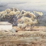 A section of a painting of an end of a shearing shed. Specifically the shed at Rivington near Blackall. In the background is a tree, horizon and the beginning of a storm over that horizon.