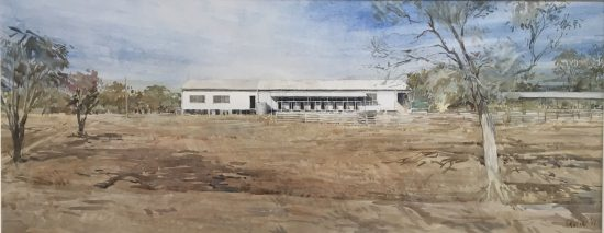 Christine Porter 'Blue sky farming' 2017 watercolour 68x27cm SOLD
