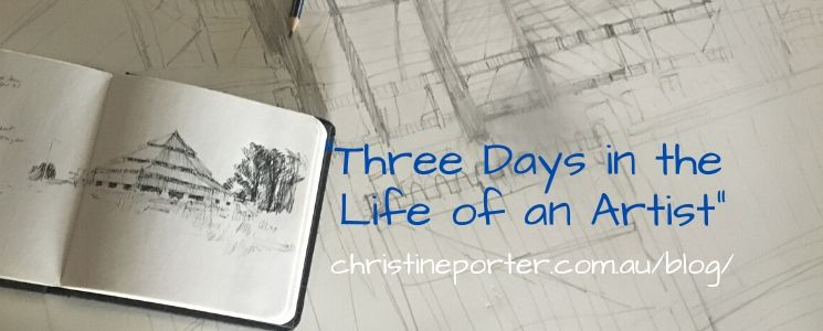 """Two drawings, one in pen, of the shed at Deeargee Uralla, and the other in pencil of the same shed. by Chrisitne Porter. Over it it says """"Three days in the life of an artist"""" ChristinePorter.com.au/blog/"""