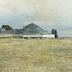"""A painting of the end of the shearing shed at """"Deeargee"""" Uralla."""