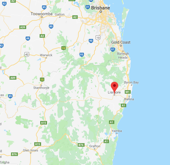A map of east coast of Australia, from Brisbane in the north to Grafton in the south, pinpointing Lismore.