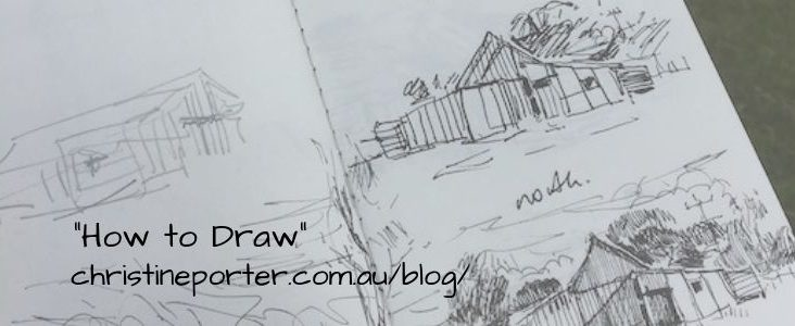 "A graphic showing a pencil drawing of some shearing sheds, with the title 'How to Draw"" and Christine's web link to that blog"