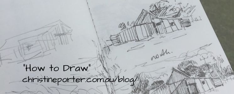 """A graphic showing a pencil drawing of some shearing sheds, with the title 'How to Draw"""" and Christine's web link to that blog"""