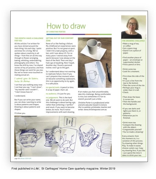 """a page from the winter 2019 edition of the St Carthages' Home Care edition of """"Life!"""" featuring Christine's article called How to Draw."""