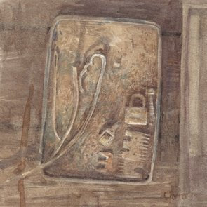 Watercolour by Christine Porter showing a flat win with a collection of rusty items in it.