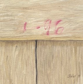 Watercolour by Christine Porter of graffiti on a timber wall. Reading 1-96