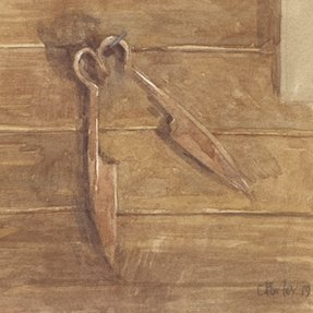 Watercolour by Christine Porter of a paid of hand shears, lying on the floor