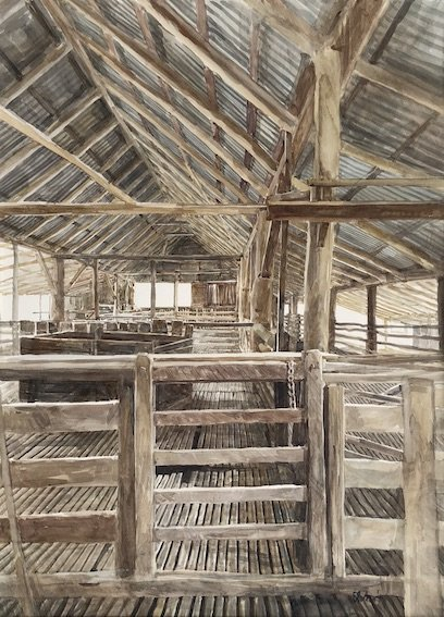 Watercolour by Christine Porter of the interior of a timber shearing shed. Showing a timber gate, floorboards and single gate in foreground.