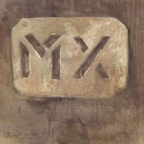 """Waterolour painting by Chrsitine Porter of a woolstencil reading """"MX"""""""