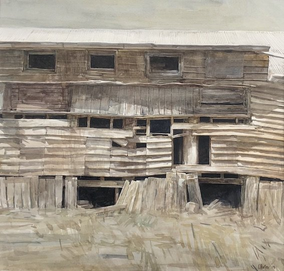 Watercolour by Christine Porter of a sunlit wall of an old shearing shed.
