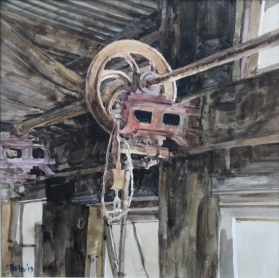 Watercolour by Christine Porter of Overhead gear in old shearing shed.
