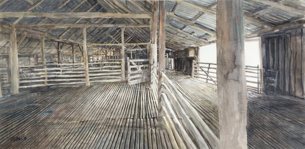 Watercolour painting by Chrisitne Porter of the inside of an old shearing shed. Lots of rails, pens and gates. Strong light coming from the right.