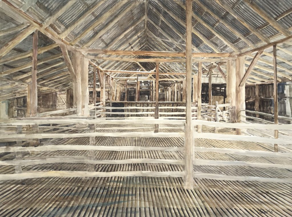 Watercolour painting by Christine Porter of the interior of a wooden shearing shed. In the foreground is a set of rails, beyond which are more pens, posts and rails.