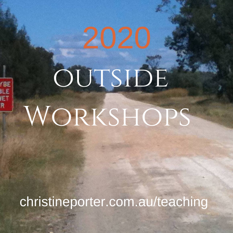 Photo of a dirt road heading off into the distance. With text over it saying 2020 outside workshops and christine's website address