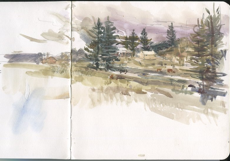 photo of a sketchbook page showing a painting over pencil of a building surrounded by Norfolk Island Pines and parkland.