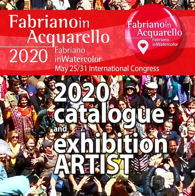 """Advertising promo for Fabriano in Acquarello conference in Italy in May 2020. It also has the words """"2020 catalogue and exhibition Artist"""""""