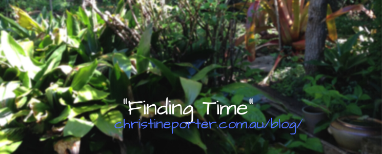 "a photo of a very green garden with the text ""Finding Time"" and ""ChristinePorter.com.au/blog"" superimposed"