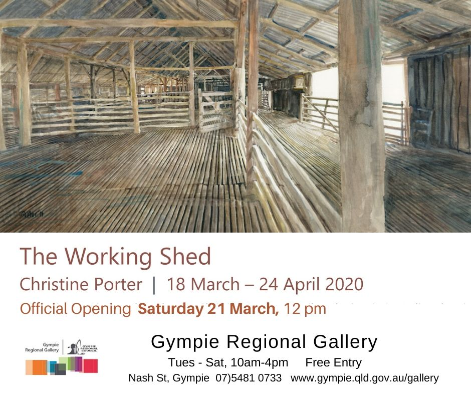 INvitation image for CHristine's Gympie March 2020 exhibition. Showing key painting of the interior of shearing shed and words about where, when and how.