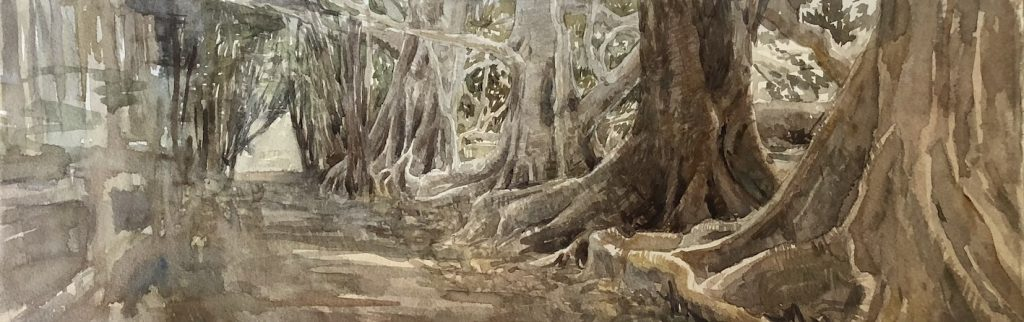 Photo of a painting by Chrsitine Porter of the buttress part of the Moreton Bay Figs that are along the  road.