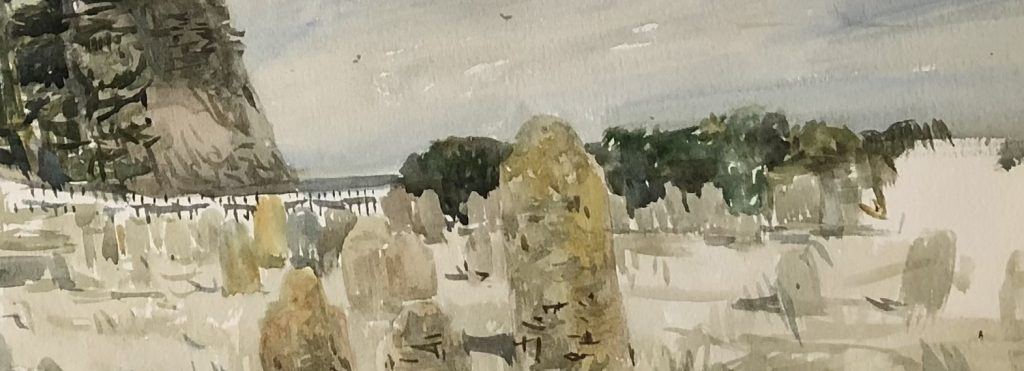 photo of a painting by Chrsitine Porter of some old gravestones looking towards a hill, a small strip of sea and the edge of the cemetery