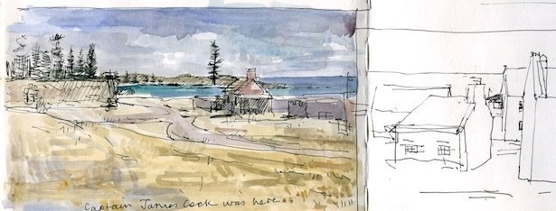 photo of some sketchbook pages showing Emily Bay and some of the older buildings qt kingston. The Emily bay pen drawing has had watercolour wash added. the others done. By Christine Porter