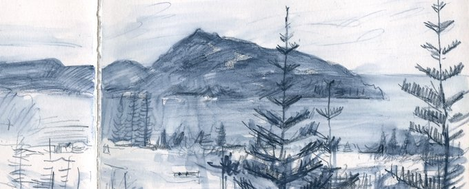 a sketchbook section showing Philip Island off Norfolk Island, with some Norfolk Island Pines in the foregrgound. in watercolour pencil with wash, by Christine Porter