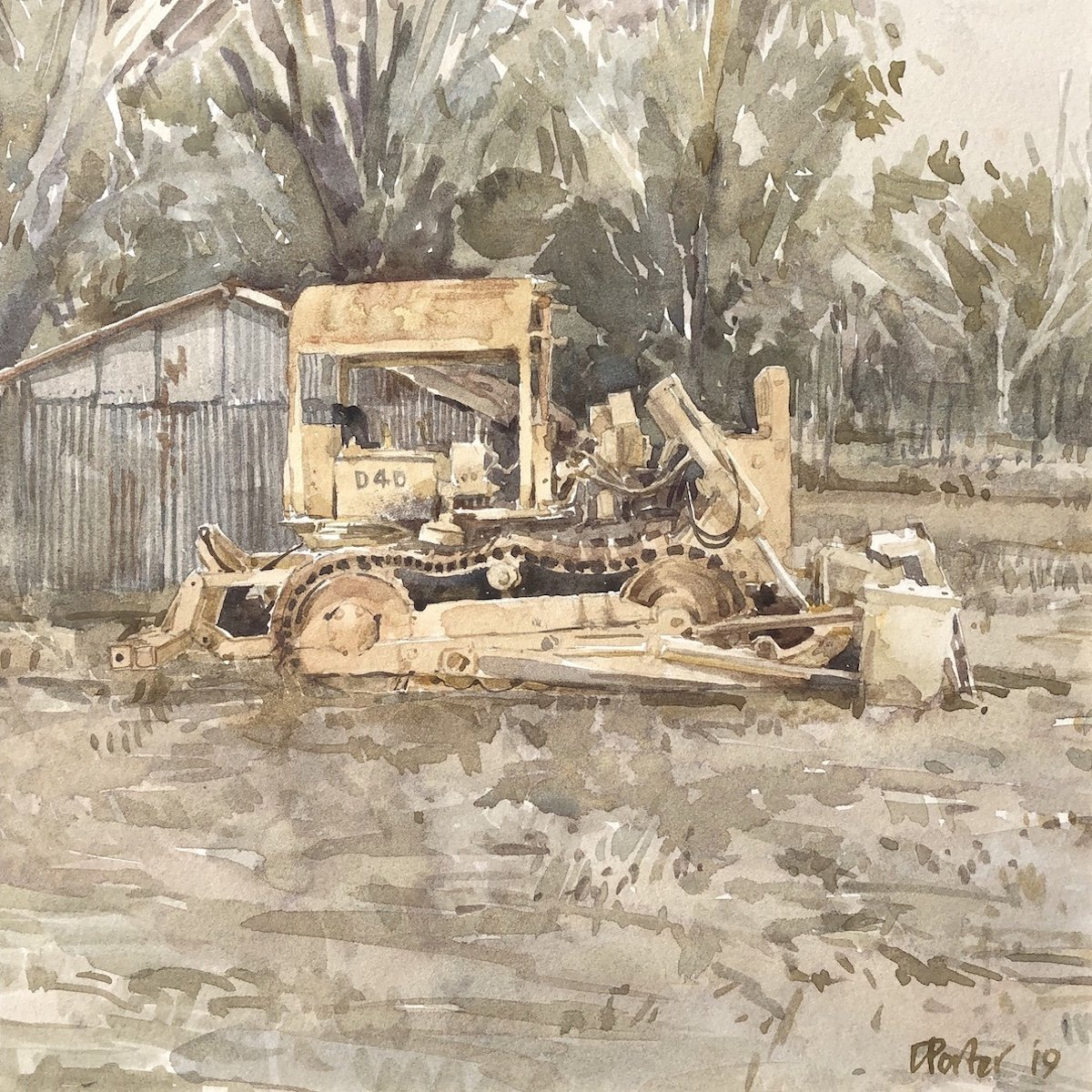 Watercolour painting by Christine Porter showing a yellow D4D tractor in front of a corrugated iron shed and beyond that, bush.