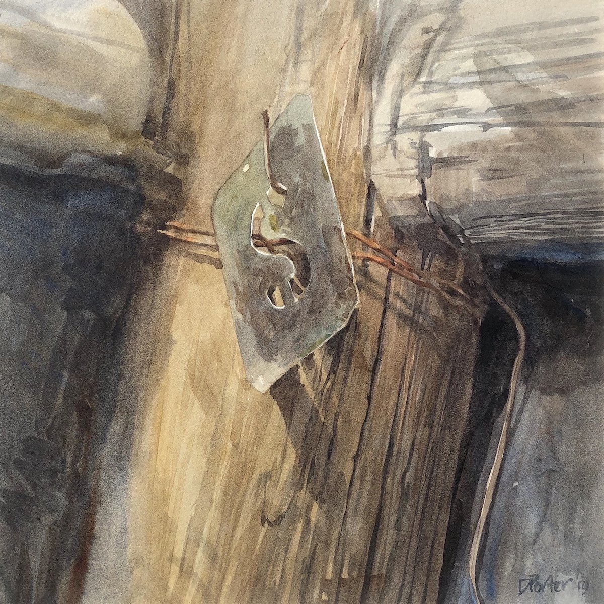 Watercolour painting by Christine Porter showing a woolstencil handing from a corner timber post. The roof is gone, so there's sunlight letting the S of the stencil case a shadow onto the post.
