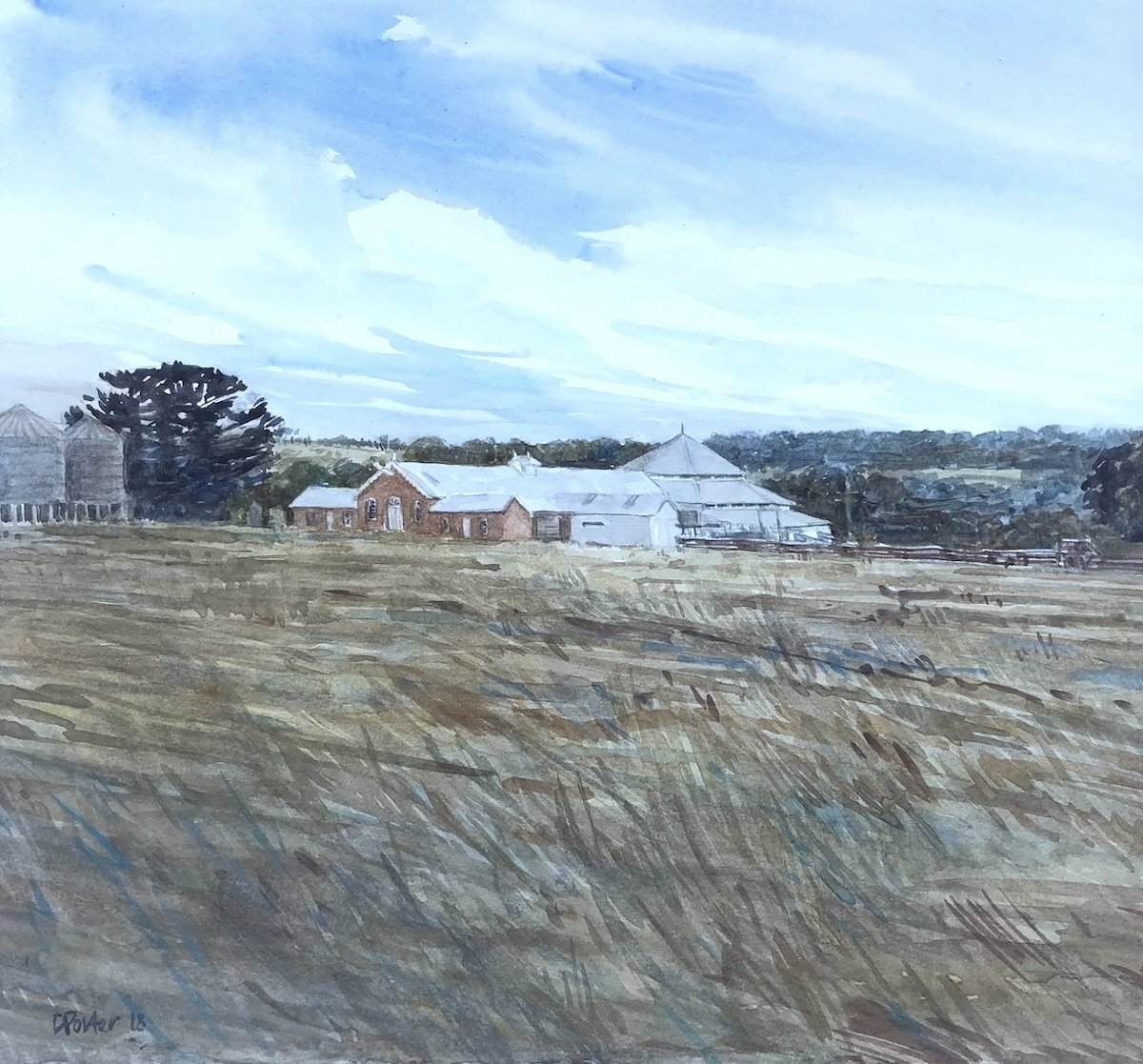 "Watercolour painting by Christine Porter showing the shearing shed at ""Deeargee"" as seen from the quarters. The 1901 brick woolroom is at the centre of th apitning and ther est of the building obvios too. The bottom half of the painting is all grass."