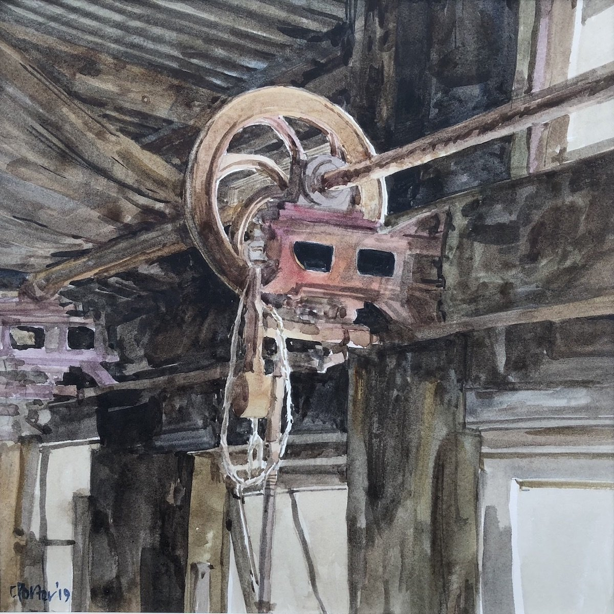 Watercolour painting by Christine Porter showing some overhead shearing gear, red, with the starting rope hooked over the wheel. behind it the roof is dark corrugated iron, and the windows that light the stand are open.