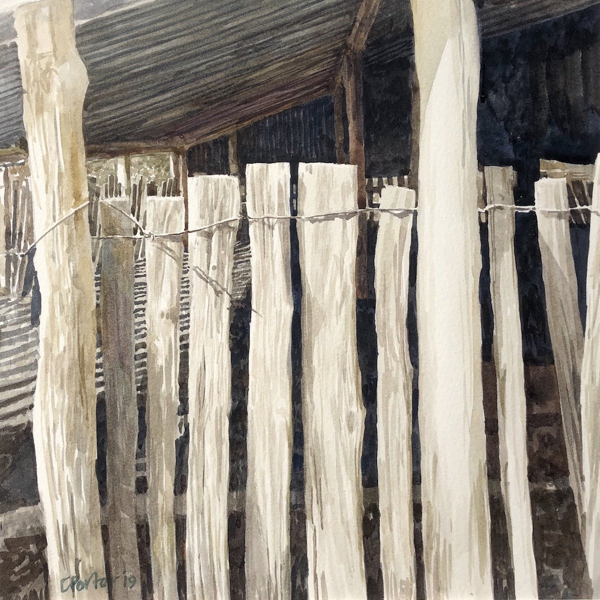 Watercolour painting by Christine Porter showing a tied together fence of slabs being a low wall in a weather shed in an old shearing shed