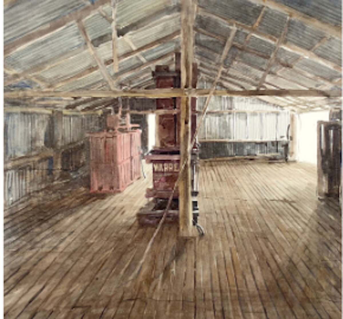 Watercolour painting by Christine Porter showing the intreior of a shearing shed, from near the roof. looking down on an empty woolroom with a central post, beam and old red woolpress.