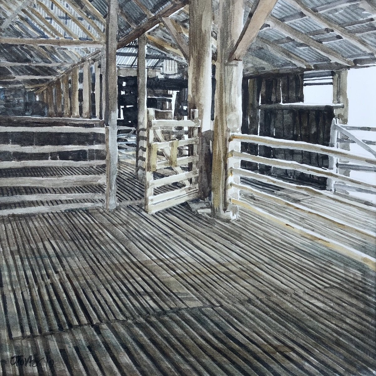 Watercolour painting by Christine Porter showing the inside of a large shearing shed, with the subject being a small gte. The floor boards and roof beams are behind it.